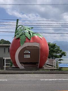 空,屋外,かわいい,道路,フルーツ,バス停,諫早市,フルーツバス停,ときめきフルーツバス停通り
