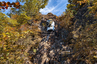 気合いで登るの写真・画像素材[4277231]