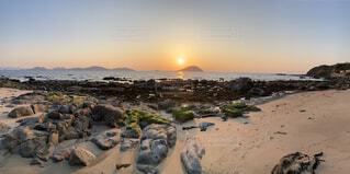 自然,風景,海,空,太陽,砂浜,夕暮れ,海岸