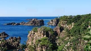 自然,風景,海,空,屋外,ビーチ,水面,海岸,山,崖,灯台,岬,眺め,海洋地形