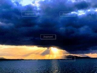風景,空,雲,夕暮れ,水面