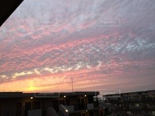 空,ピンク,雲,夕暮れ,いわし雲
