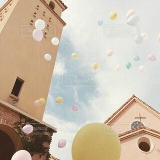 空,風船,教会,装飾,ウェディング