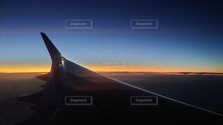 風景,空,屋外,太陽,朝日,飛行機,オレンジ,日の出,景観,始まり