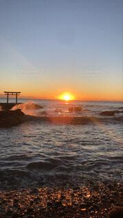 海,朝日,ビーチ,鳥居,海岸,正月,お正月,日の出,新年,初日の出