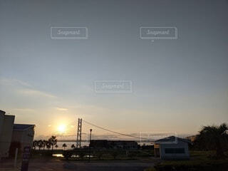 海,空,夕日,橋,太陽,雲,夕暮れ,神戸,明石大橋