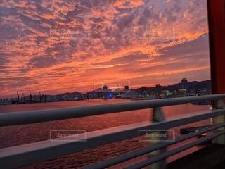 空,橋,ピンク,雲,夕暮れ,水面,神戸