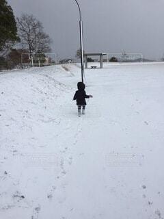 空,冬,雪,屋外,人