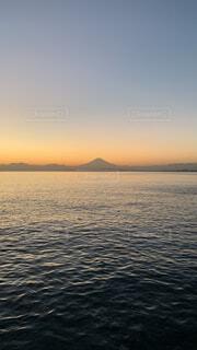 自然,風景,海,空,富士山,夕暮れ,海岸,山