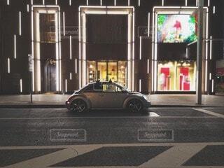 夜,車,道,通り,フォルクスワーゲン,フォルクスワーゲンビートル