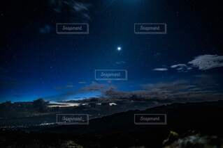 自然,風景,空,夜,夜空,山,星,月,天文学,キリマンジャロ