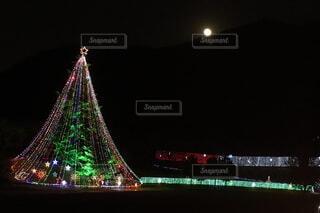 夜,イルミネーション,月,クリスマス,明るい,点灯,宮ヶ瀬,バック グラウンド,クリスマス ツリー