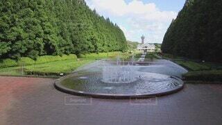 空,公園,屋外,水面,樹木,庭園,噴水,噴水広場,相模原公園