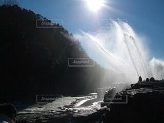 自然,空,屋外,水,山,消防,放水