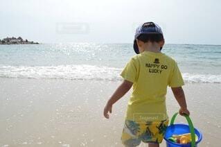 風景,海,空,ビーチ,水面,海岸,少年