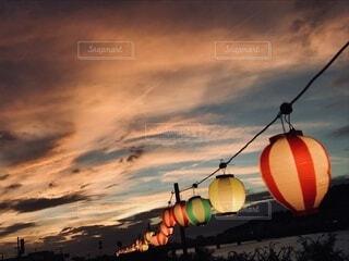 空,屋外,雲,夕暮れ,オレンジ,ランプ,祭り