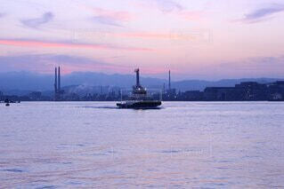 自然,風景,海,空,夕日,屋外,雲,ボート,綺麗,船,水面,海岸