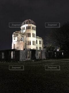 空,建物,夜,屋外,暗い,光,古い,ライトアップ,広島,原爆ドーム