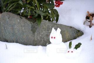 うさぎ,雪,雪だるま