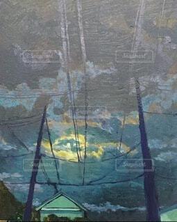夜景,絵画,景観,油絵