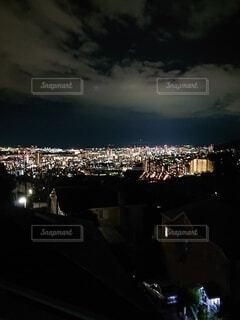空,夜,夜景,トワイライト,素材,街明かり