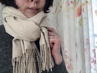 ファッション,冬,屋内,マフラー,人,ショート