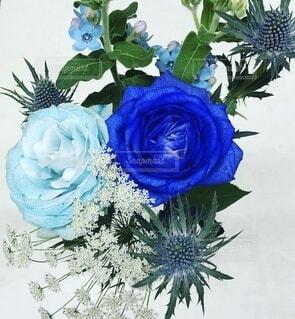 花,花束,青,バラ,装飾,希望,花言葉