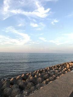 海,空,雲,水面,海岸