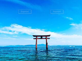 風景,空,屋外,湖,雲,青,水面,観光,旅行,琵琶湖,白鬚神社,インスタ映え