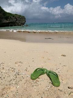 海,ビーチ,砂浜,沖縄,初夏,やんばる,ギョサン