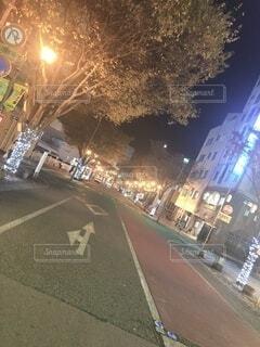 空,夜,屋外,樹木,都会,明るい,通り,街路灯