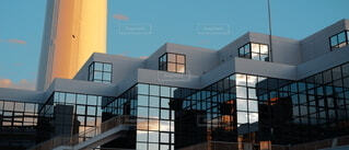 空,建物,夕暮れ,窓,夕方,反射,家,屋根,モダン,アーキテクチャ