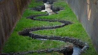 屋外,川,草,岩,石,河川,草木,用水路,くねくね,曲がった