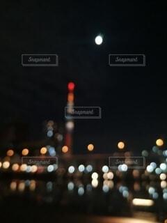 夜景,東京,スカイツリー,都会,ぼんやり,ぼやけ,しんみり