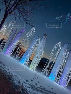 夜,雪,イルミネーション,明るい