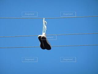 空,靴,屋外,青,背景,電線,明るい,クリア,景観,日中,ライン,ワイヤー,フォトジェニック