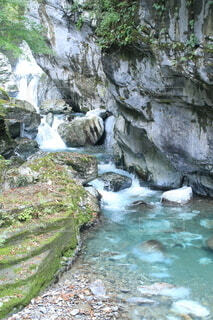自然,屋外,青,川,水面,水色,滝,岩