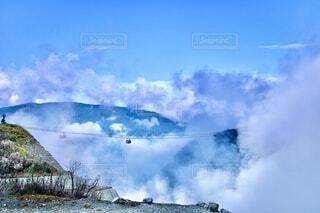 自然,空,屋外,雲,山,箱根,大涌谷,日中,黒たまご,活火山,箱根ロープウェイ,山腹