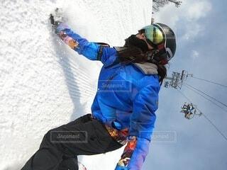 風景,冬,雪,青,山,運動,ヘルメット,スノーボード,斜面,ウィンタースポーツ,スポーツ用品