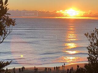自然,海,屋外,水面,海岸,正月,日の出,新年,初日の出