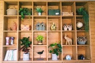 木製棚インテリアとグリーンの写真・画像素材[4157439]