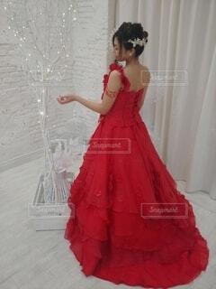 女性,赤,ドレス,人