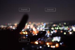 空,夜,ぼかし,高層ビル,明るい,ピース,一眼レフ,初
