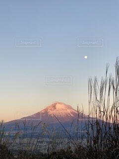 自然,風景,空,富士山,雪,山,朝焼け,月,すすき,赤富士山