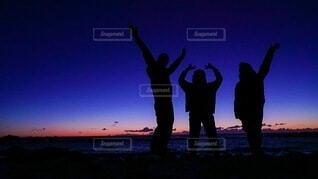 夜空,朝日,シルエット,人,正月,お正月,日の出,新年,初日の出