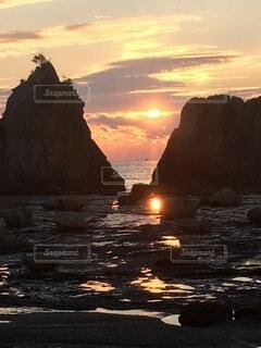 自然,風景,海,空,屋外,朝日,雲,岩,日の出