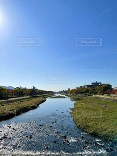 自然,風景,空,夏,屋外,京都,太陽,雲,綺麗,青空,川,水面,展望,景色,光,河原,草,爽やか,樹木,鴨川,パノラマ,景観,日中,川の流れ