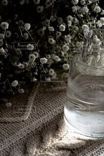 かすみ草,透明,花瓶,ガラス,食器,ボトル,ドリンク