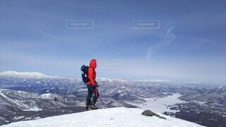 自然,空,冬,雪,屋外,雪山,山,登山,丘,人,立つ,運動,ハイキング,冒険,斜面,ウィンタースポーツ,日中,安達太良山