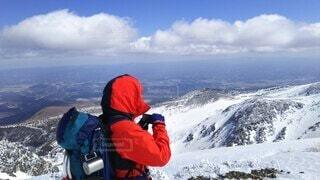 自然,風景,空,冬,雪,屋外,雪山,山,登山,丘,立つ,運動,ハイキング,冒険,山脈,斜面,ウィンタースポーツ,安達太良山,山塊